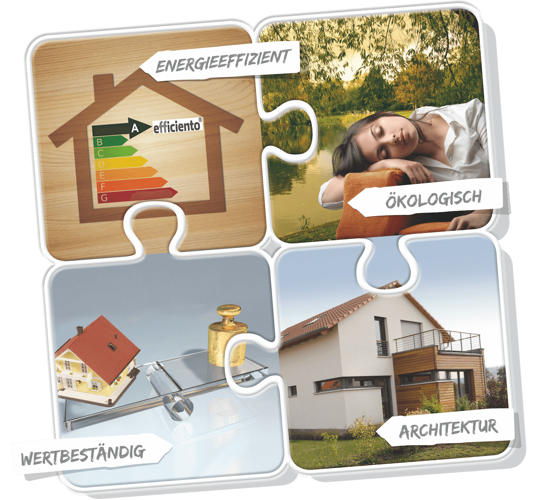 Puzzleteile effiziento Holzhaus Konzept